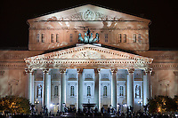 Moscow, Russia, 28/10/2011..The Bolshoi Theatre floodlit for its gala reopening. The theatre had been closed since 2005 for reconstruction work that cost some $700 million.