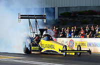 May 18, 2012; Topeka, KS, USA: NHRA top fuel dragster driver J.R. Todd during qualifying for the Summer Nationals at Heartland Park Topeka. Mandatory Credit: Mark J. Rebilas-