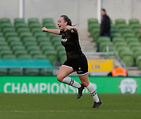 3rd November 2019; Aviva Stadium, Dublin, Leinster, Ireland; FAI Cup Womens Final Football, Peamount United versus Wexford Youth Womens Football Club; Lauren Kelly celebrates scoring for Wexford Youths in the 34th minute to give her side a 2-1 lead - Editorial Use
