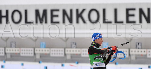 02.03.2016. Holmenkollen, Oslo, Norway.  Biathlete Simon Schempp of Germany in action during a training session at the Biathlon World Championships, in the Holmenkollen Ski Arena, Oslo, Norway