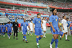 10 August 2008: Ronaldinho (BRA) (10) leads the Brazil team onto the field, pregame.  The men's Olympic soccer team of Brazil defeated the men's Olympic soccer team of New Zealand 5-0 at Shenyang Olympic Sports Center Wulihe Stadium in Shenyang, China in a Group C round-robin match in the Men's Olympic Football competition.