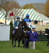 Flat Top (in front) and Hirapour before 2004 Breeders Cup at Far Hills, NJ.