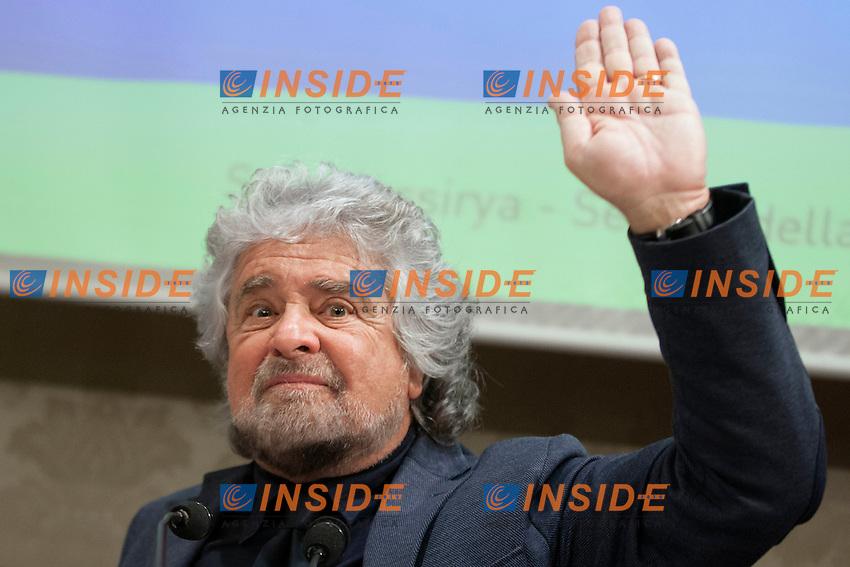 Beppe Grillo<br /> Roma 10-12-2014 Senato. Sala Nassiriya. Conferenza stampa del Movimento 5 Stelle per presentare il referendum per uscire dall'Euro dal titolo Fuori dall'Euro<br /> Press conference of the Movement 5 Stars proposing a referendum to get out of Euro<br /> Photo Samantha Zucchi Insidefoto