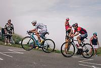 white jersey / best young rider Pierre Latour (FRA/AG2R-LaMondiale) &amp; Ion Izagirre (ESP/Bahrain-Merida) up the last climb of the 2018 Tour: the Col d'Aubisque (HC/1709m/16.6km@4.9%)<br /> <br /> Stage 19: Lourdes &gt; Laruns (200km)<br /> <br /> 105th Tour de France 2018<br /> &copy;kramon