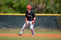 Ball State Cardinals shortstop Noah Powell (3) leads off during a game against the Saint Joseph's Hawks on March 9, 2019 at North Charlotte Regional Park in Port Charlotte, Florida.  Ball State defeated Saint Joseph's 7-5.  (Mike Janes/Four Seam Images)