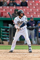 Kane County Cougars right fielder Eduardo Diaz (1) during a Midwest League game against the Cedar Rapids Kernels at Northwestern Medicine Field on April 28, 2019 in Geneva, Illinois. Kane County defeated Cedar Rapids 3-2 in game one of a doubleheader. (Zachary Lucy/Four Seam Images)