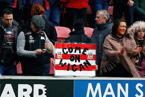 03.04.2015.  Wigan, England.  Super League Rugby. Wigan Warriors versus St Helens. A banner of support for the Wigan Warriors