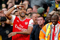 GOAL - Pierre-Emerick Aubameyang of Arsenal salutes the fans during the Premier League match between Arsenal and Aston Villa at the Emirates Stadium, London, England on 22 September 2019. Photo by Carlton Myrie / PRiME Media Images.