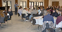Graham Thomas/Herald-Leader<br /> The Siloam Springs football team, family and friends gathered at the dining hall at Camp Siloam on Sunday for the annual football banquet, honoring the 2018 season.