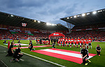 Wales and Austria teams line up before the World Cup Qualifying Group D match at the Cardiff City Stadium, Cardiff. Picture date 2nd September 2017. Picture credit should read: Simon Bellis/Sportimage
