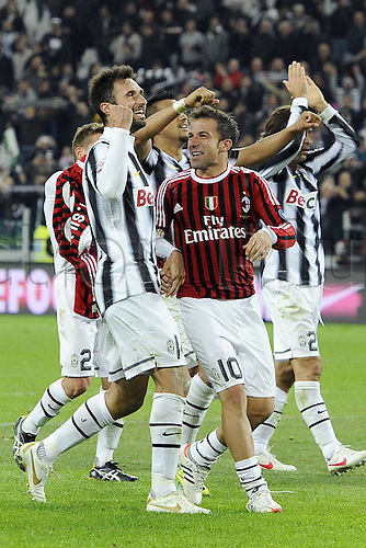 20.03.2012. Turin, Italy.  Coppa Italia versus Juventus Milan. Phtoo Mirko Vucinic and Alessandro DEL Piero  The game ended in a 2-2 draw with Juventus going through to the next round 4-3 on aggregate.