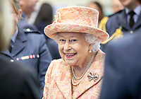 03/02/2020 - Queen Elizabeth II is greeted by Personnel at RAF Marham where she inspected the new integrated training centre that trains personnel on the maintenance of the new RAF F-35B Lightning II strike aircraft. Marham, Norfolk. Photo Credit: ALPR/AdMedia