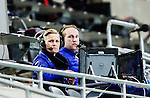 Stockholm 2015-03-13 Bandy SM-final damer Kareby IS - AIK :  <br /> SVT:s dambandyexpert expert Johanna Pettersson och kommentator Chris H&auml;renstam p&aring; pressl&auml;ktaren under matchen mellan Kareby IS och AIK <br /> (Foto: Kenta J&ouml;nsson)<br /> Nyckelord:  SM SM-final final Bandyfinal Bandyfinalen Dam Damer Dambandy AIK Kareby IS portr&auml;tt portrait TV k&auml;ndis TV-k&auml;ndis