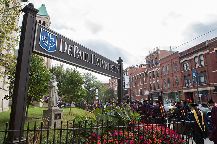 Staff and faculty process to the St. Vincent de Paul Parish Church during the 120th DePaul University Convocation on Thursday, August 31, 2017, on the Lincoln Park Campus. (DePaul University/Jeff Carrion)