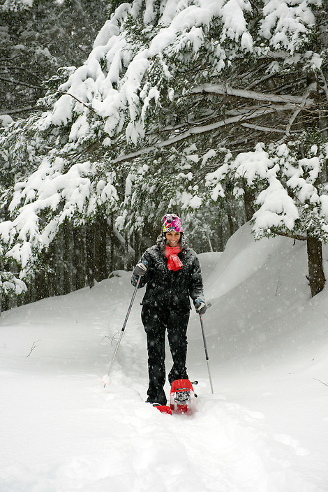 Snowshoeing in first snowfall at Moosalamoo National Recreation Area, Vermont.