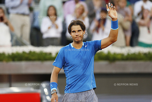 Rafael Nadal (ESP), MAY 11, 2014 - Tennis : Wiiner Rafael Nadal of Spain celebrates after winning the men's singles final match of the Mutua Madrid Open tennis tournament at the La Caja Magica in Madrid, Spain, May 11, 2014. (Photo by AFLO)