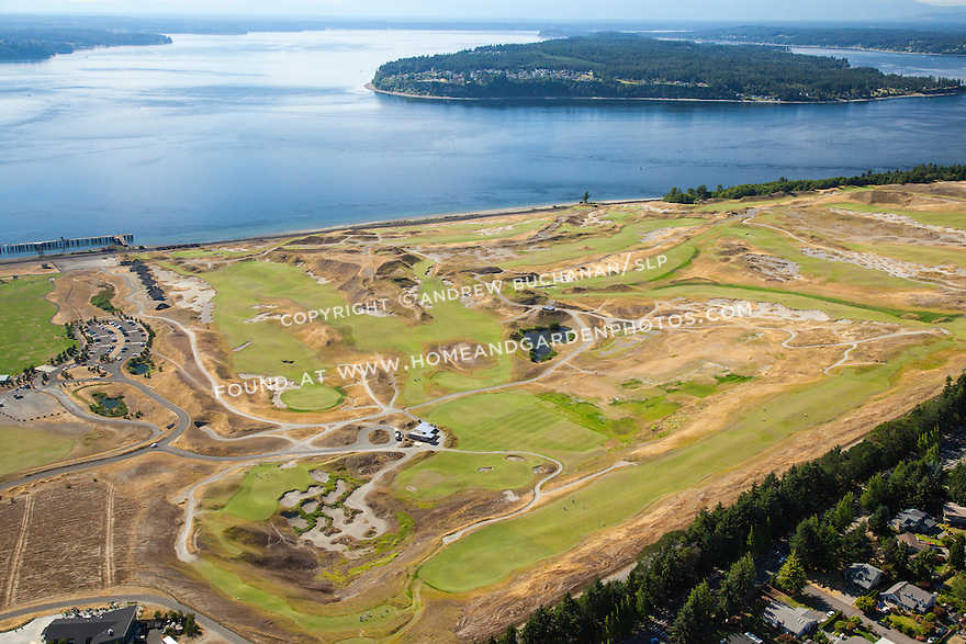 aerial view of Chambers Bay Golf Course looking to the west with Puget Sound behind, site of the 2015 US Open Championship; University Place, WA near Tacoma