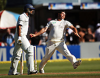 Jesse Ryder bowls past Yuvraj Singh during day one of the 3rd test between the New Zealand Black Caps and India at Allied Prime Basin Reserve, Wellington, New Zealand on Friday, 3 April 2009. Photo: Dave Lintott / lintottphoto.co.nz