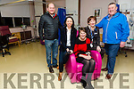 University Hospital Kerry, Oncology Day care Unit, Loher Ward was Present with a Cheque for €20,000 for chemo chairs for cancer patients on Friday. Picture front l-r Theresa Walsh, Mary Lynch, Mary Fitzgerald with members of  Spailpin Willy Kelly and, Gerry Moloney