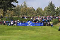 Azahara Munoz of Team Europe on the 2nd tee during Day 2 Fourball at the Solheim Cup 2019, Gleneagles Golf CLub, Auchterarder, Perthshire, Scotland. 14/09/2019.<br /> Picture Thos Caffrey / Golffile.ie<br /> <br /> All photo usage must carry mandatory copyright credit (© Golffile | Thos Caffrey)