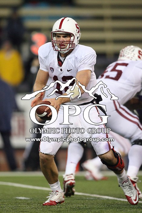 Oct 30, 20010:  Stanford quarterback #12 Andrew Luck sets up to hand the ball off against Washington.  Stanford defeated Washington 41-0 at Husky Stadium in Seattle, Washington...