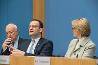 Bundesgesundheitsminister Jens Spahn (CDU), (2.vl.) und Bundesforschungsministerin Anja Karliczek (CDU), (2.vr.) stellten am Dienstag den 29. Januar 2019 in Berlin die &quot;Nationale Dekade gegen Krebs&quot; vor. Ziel sei, &quot;Krebserkrankungen moeglichst verhindern, Heilungschancen durch neue Therapien verbessern, Lebenszeit und -qualitaet von Betroffenen erhoehen&quot;.<br /> Links: Dr. h.c. Fritz Pleitgen, Praesident der Deutschen Krebshilfe.<br /> 29.1.2019, Berlin<br /> Copyright: Christian-Ditsch.de<br /> [Inhaltsveraendernde Manipulation des Fotos nur nach ausdruecklicher Genehmigung des Fotografen. Vereinbarungen ueber Abtretung von Persoenlichkeitsrechten/Model Release der abgebildeten Person/Personen liegen nicht vor. NO MODEL RELEASE! Nur fuer Redaktionelle Zwecke. Don't publish without copyright Christian-Ditsch.de, Veroeffentlichung nur mit Fotografennennung, sowie gegen Honorar, MwSt. und Beleg. Konto: I N G - D i B a, IBAN DE58500105175400192269, BIC INGDDEFFXXX, Kontakt: post@christian-ditsch.de<br /> Bei der Bearbeitung der Dateiinformationen darf die Urheberkennzeichnung in den EXIF- und  IPTC-Daten nicht entfernt werden, diese sind in digitalen Medien nach &sect;95c UrhG rechtlich geschuetzt. Der Urhebervermerk wird gemaess &sect;13 UrhG verlangt.]