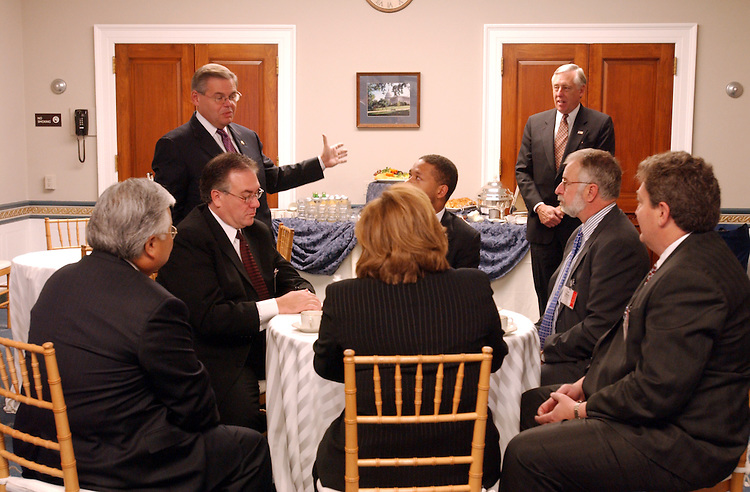 Freshmen5_111302 -- Mike Honda, D-CA., Robert Menendez, D-N.J., and Steny H. Hoyer, D-MD., give pep talks during a breakfast hosted by Rep. Menendez the vice Chairman of the Democratic Caucus for Democratic members-elect.