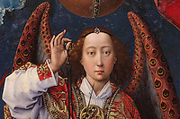 Archangel Michael weighing souls on Judgement Day, from the open panels of the polyptych altarpiece, 1446-52, by Rogier van der Weyden, 1399-1464, commissioned by Nicolas Rolin in 1443, in Les Hospices de Beaune, or Hotel-Dieu de Beaune, a charitable almshouse and hospital for the poor, built 1443-57 by Flemish architect Jacques Wiscrer, and founded by Nicolas Rolin, chancellor of Burgundy, and his wife Guigone de Salins, in Beaune, Cote d'Or, Burgundy, France. The altarpiece was originally in the Chapel, but is now in the museum. The panels were only opened to patients during holy days. The hospital was run by the nuns of the order of Les Soeurs Hospitalieres de Beaune, and remained a hospital until the 1970s. The building now houses the Musee de l'Histoire de la Medecine, or Museum of the History of Medicine, and is listed as a historic monument. Picture by Manuel Cohen