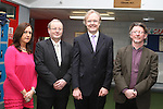 Members of the School Staff , Ann McNamee, John Mansfield (Deputy Principal), Collins Montgomerie with Noel Farrell (centre) as the Irish EU Official heads back to his old school to talk to the pupils at St.Josephs...(Photo credit should read Jenny Matthews/NEWSFILE)...