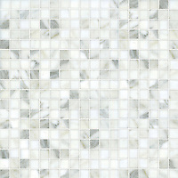 Gridded 3 cm, a hand-cut stone mosaic, shown in polished Calacatta.