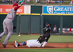 "Aces Abraham Almonte (7) slides into second base during the Reno Aces ""Star Wars Night"" in Reno on Saturday, June 8, 2019."