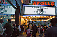 "NEW YORK APRIL 21Harlem pays tribute to Prince at the Apollo Theater . During the course of his legendary career, Prince made several appearances at the famed Apollo Theater in Harlem, and the theater played his music as the marquee read ""Nothing Compares 2 U"".The pop star die a few hours ago at the age of 57. in Harlem, New York City, Friday, April 22, 2016. Photo by VIEWpress/Maite H. Mateo"