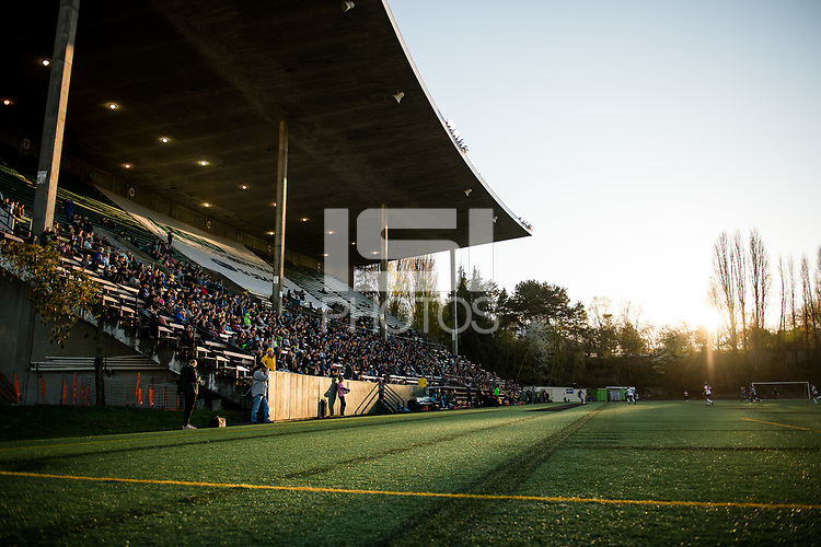 Seattle, WA - April 15th, 2017: Memorial Stadium during a regular season National Women's Soccer League (NWSL) match between the Seattle Reign FC and Sky Blue FC at Memorial Stadium.
