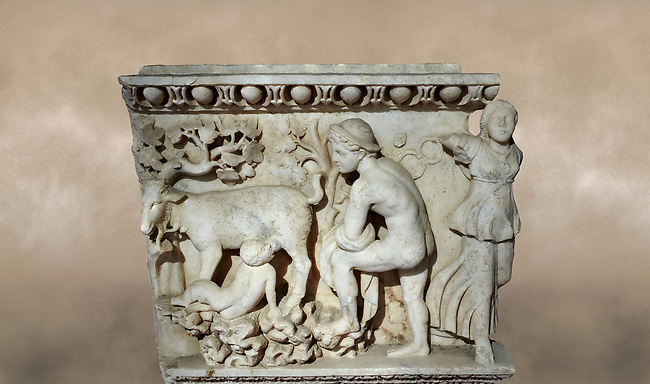 Roman relief sculpture of the Dionysus and Pan. Roman 2nd century AD, Laodicea. Hierapolis Archaeology Museum, Turkey. Against an art background