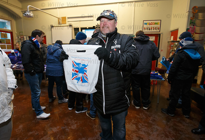 The alternative Rangers shop in Ibrox Primary school