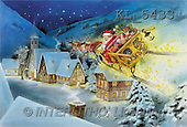 Interlitho, Gilberto, CHRISTMAS SANTA, SNOWMAN, classical, paintings, santa, sleigh, village(KL5433,#X#)