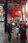 """Belgium, Mons - December 17, 2014 -- European Capital of Culture in 2015 (together with the Czech city of Pilsen) themed """"Where technology meets culture""""; here, youngsters under the largest installation of Mons 2015, """" The Passenger"""" - a forest of matches created by artist Arne Quinze, at the palace of Justice, rue Nimy -- Photo © HorstWagner.eu"""