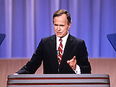United States Vice President George H.W. Bush on the podium as he delivers his speech accepting his party's nomination for President of the United States at the 1988 Republican Convention at the Super Dome in New Orleans, Louisiana on August 18, 1988.<br /> Credit: Arnie Sachs / CNP