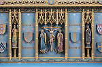 Interior of the priory church at Edington, Wiltshire, England, UK altar reredos by Randoll Blacking 1936