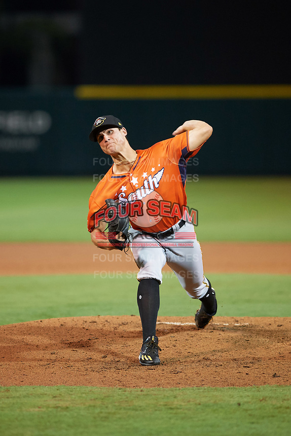 Bradenton Maruaders pitcher Jake Brentz (29) delivers a warmup pitch in the bottom of the fourth inning during the Florida State League All-Star Game on June 17, 2017 at Joker Marchant Stadium in Lakeland, Florida.  FSL North All-Stars  defeated the FSL South All-Stars  5-2.  (Mike Janes/Four Seam Images)