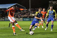 Blackpool's Joe Dodoo shoots under pressure from  Solihull Moors' Kyle Storer<br /> <br /> Photographer Andrew Kearns/CameraSport<br /> <br /> The Emirates FA Cup Second Round - Solihull Moors v Blackpool - Friday 30th November 2018 - Damson Park - Solihull<br />  <br /> World Copyright © 2018 CameraSport. All rights reserved. 43 Linden Ave. Countesthorpe. Leicester. England. LE8 5PG - Tel: +44 (0) 116 277 4147 - admin@camerasport.com - www.camerasport.com