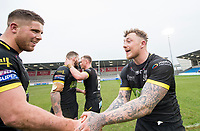 Picture by Allan McKenzie/SWpix.com - 07/04/2018 - Rugby League - Betfred Super League - Salford Red Devils v Warrington Wolves - AJ Bell Stadium, Salford, England - Warrington's Tom Lineham & Josh Charnley congratulated each other on victory over Salford.