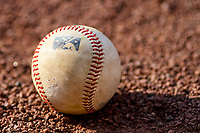 A baseball sits on the field prior to a Midwest League game between the Beloit Snappers and the Wisconsin Timber Rattlers on May 17, 2018 at Fox Cities Stadium in Appleton, Wisconsin. Beloit defeated Wisconsin 8-7. (Brad Krause/Four Seam Images)