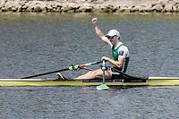 Sarasota. Florida USA. IRL LM1X. Paul O'DONOVAN,  winning the A Final at the 2017 World Rowing Championships, Nathan Benderson Park<br /> <br /> Friday  29.09.17   <br /> <br /> [Mandatory Credit. Peter SPURRIER/Intersport Images].<br /> <br /> <br /> NIKON CORPORATION -  NIKON D500  lens  VR 500mm f/4G IF-ED mm. 200 ISO 1/800/sec. f 8
