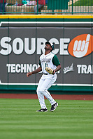 Fort Wayne TinCaps right fielder Dwanya Williams-Sutton (11) prepares to catch a fly ball during a Midwest League game against the Kane County Cougars at Parkview Field on May 1, 2019 in Fort Wayne, Indiana. Fort Wayne defeated Kane County 10-4. (Zachary Lucy/Four Seam Images)