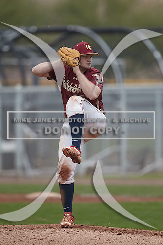 Jake Nemith (15) of Pace High School in Pace, Florida during the Under Armour All-American Pre-Season Tournament presented by Baseball Factory on January 15, 2017 at Sloan Park in Mesa, Arizona.  (Kevin C. Cox/Mike Janes Photography)