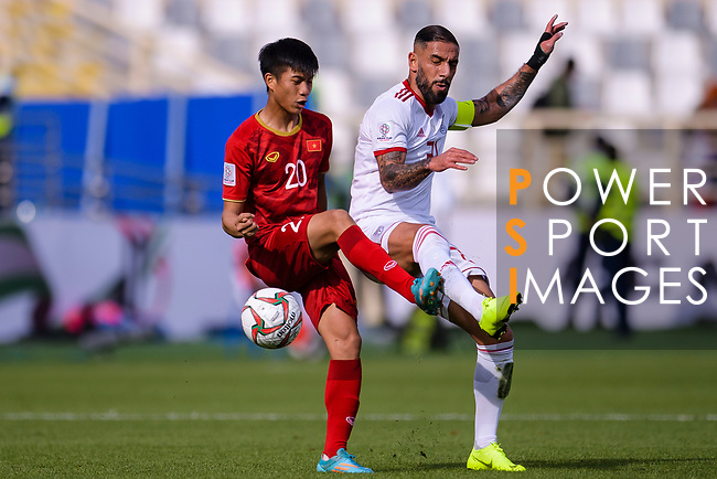 Seyed Ashkan Dejagah of Iran (R) fights for the ball with Phan Van Duc of Vietnam (L) during the AFC Asian Cup UAE 2019 Group D match between Vietnam (VIE) and I.R. Iran (IRN) at Al Nahyan Stadium on 12 January 2019 in Abu Dhabi, United Arab Emirates. Photo by Marcio Rodrigo Machado / Power Sport Images