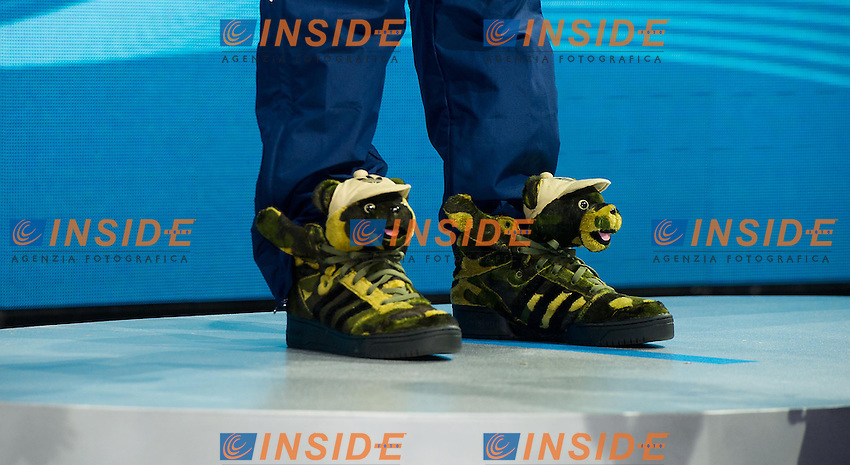 LOCHTE Ryan, United States USA, gold medal<br /> particular of his funny shoes<br /> 200 Individual medley men<br /> 15th FINA World Aquatics Championships<br /> Day-13 swimming finals<br /> Barcelona 19 July - 4 August 2013<br /> Photo G.Scala/Insidefoto/Deepbluemedia.eu