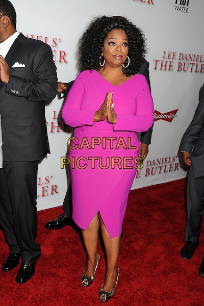 Oprah Winfrey<br /> &quot;Lee Daniels' The Butler&quot; Los Angeles Premiere held at Regal Cinemas L.A. Live, Los Angeles, California, USA.<br /> August 12th, 2013<br /> full length pink dress hands together praying <br /> CAP/ADM/BP<br /> &copy;Byron Purvis/AdMedia/Capital Pictures