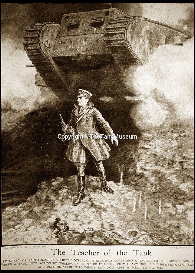 BNPS.co.uk (01202 558833)<br /> Pic: TheTankMuseum/BNPS<br /> <br /> Capt Hotblack's bravery turned him into a boys own style hero.<br /> <br /> A 100 year old Xmas card has been rediscovered at the Tank Museum in Dorset that shed's light on the astonishing bravery of early tank pioneer Capt Elliot Hotblack.<br /> <br /> A Christmas card sent by one of the First World War's most heroic tank officers has been unearthed 100 years later.<br /> <br /> Elliot Hotblack posted the simple card from 'Advance Headquarters Tank Corps' in December 1917, presumably to his parents in Norfolk.<br /> <br /> It includes a print of a crewman waving his cap from a Mark IV tank beneath the words 'Christmas Greetings.<br /> <br /> The card has been found in the archives of the Tank Museum in Dorset where it will now go on display.
